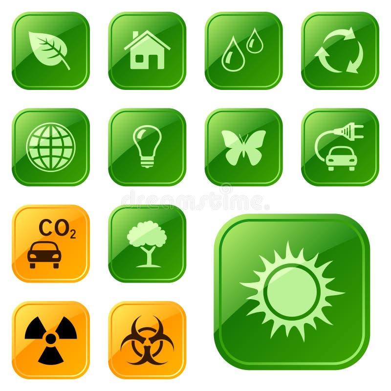 Buttons Ekologiska Symboler Arkivfoto