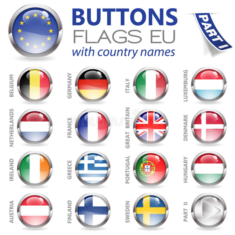 Buttons with EU Flags vector illustration