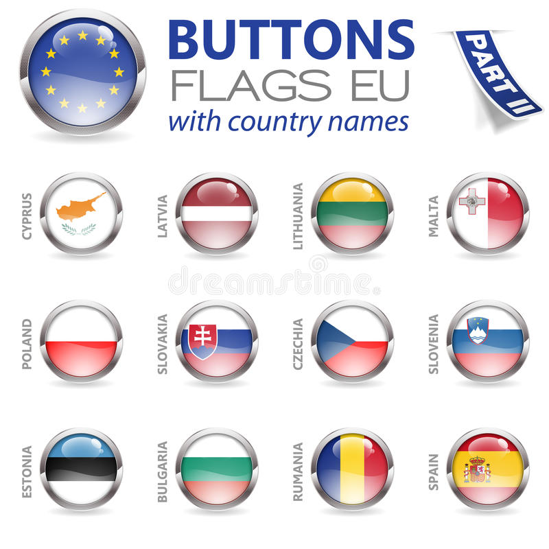 Buttons with EU Flags stock illustration
