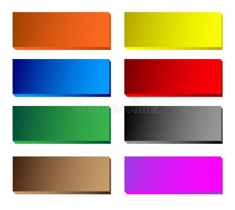 buttons färgrikt blankt royaltyfri illustrationer