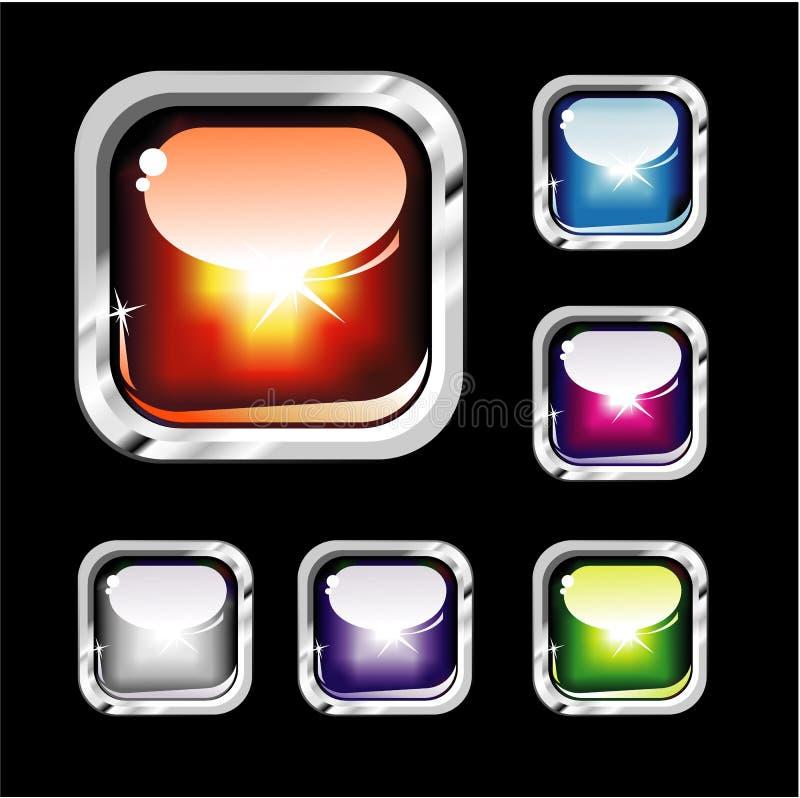 buttons färgrikt glansigt stock illustrationer