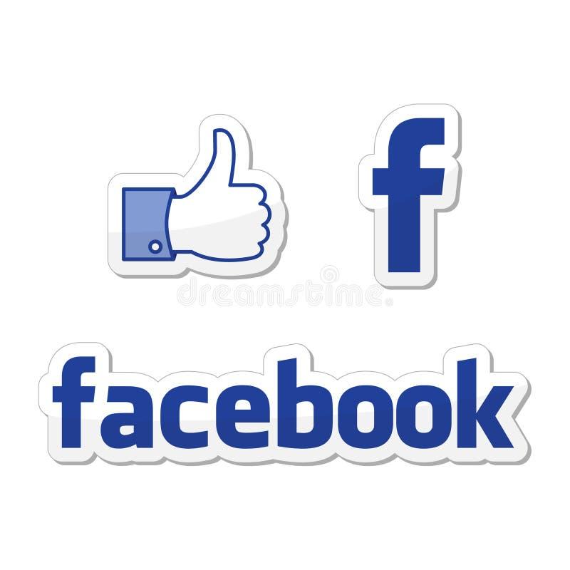 buttons facebook som royaltyfri illustrationer