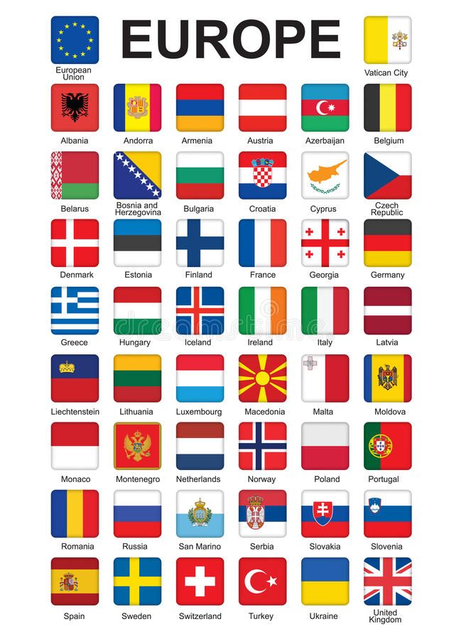 Buttons with flags of Europe. Set of push buttons with flags of Europe vector illustration royalty free illustration