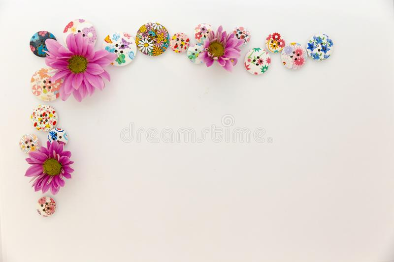 Buttons flowers greeting card frame royalty free stock photo