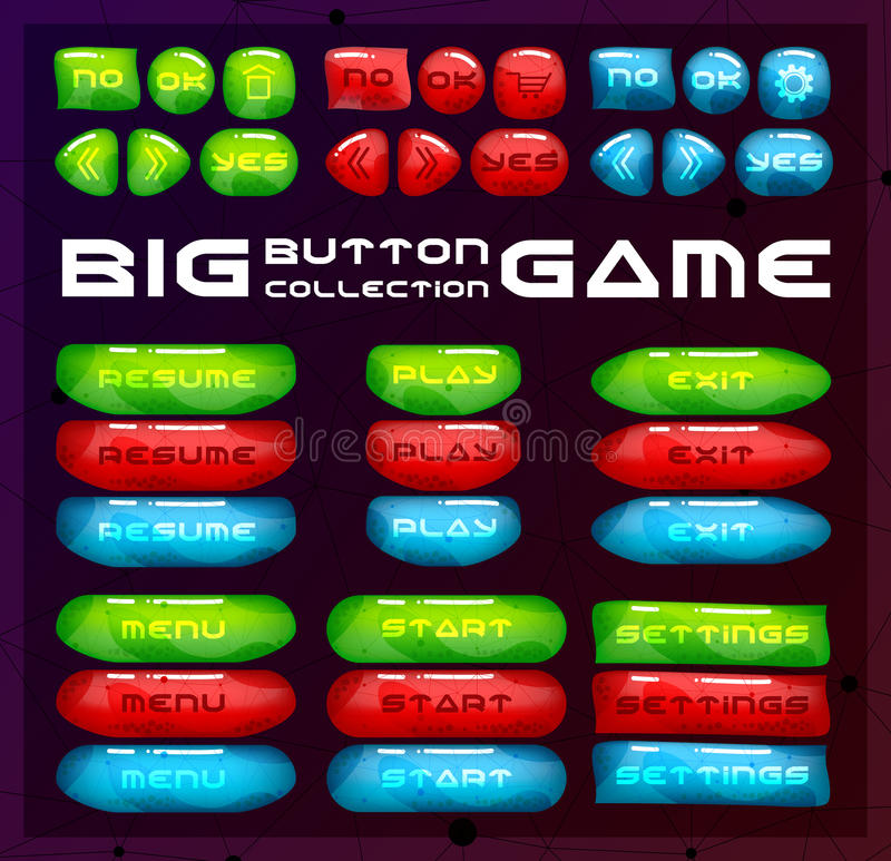 Buttons for game user interface. Concept designed glossy and bright menu elements. Bar collection of cartoon navigation royalty free illustration