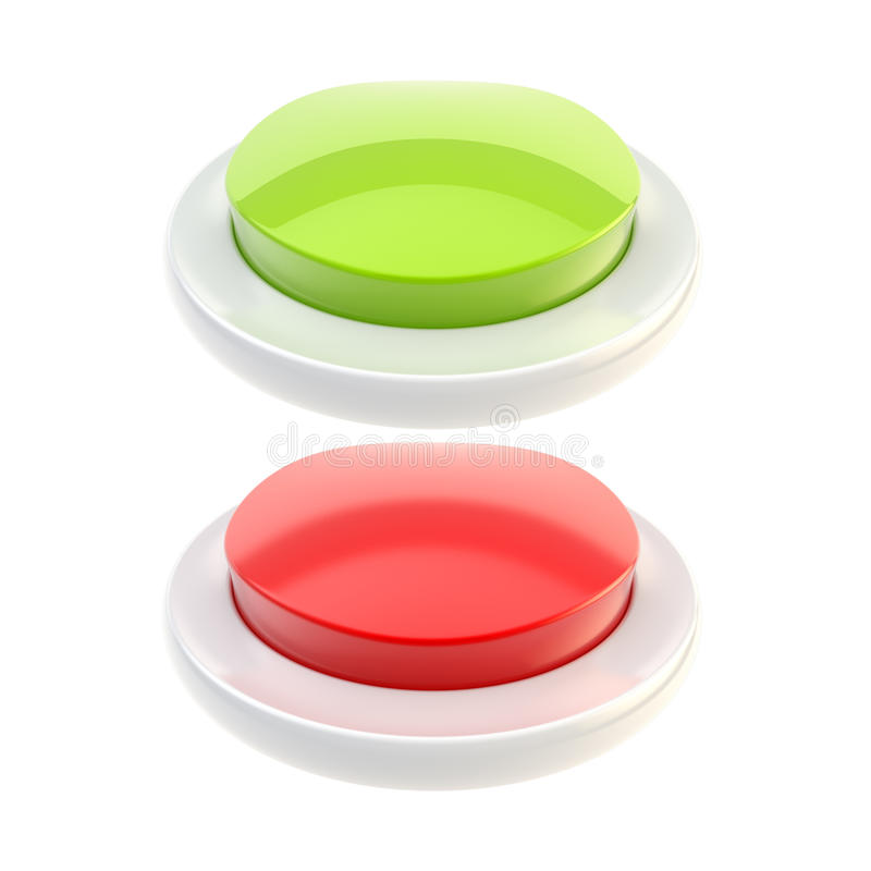 buttons glansig green isolerad red royaltyfri illustrationer