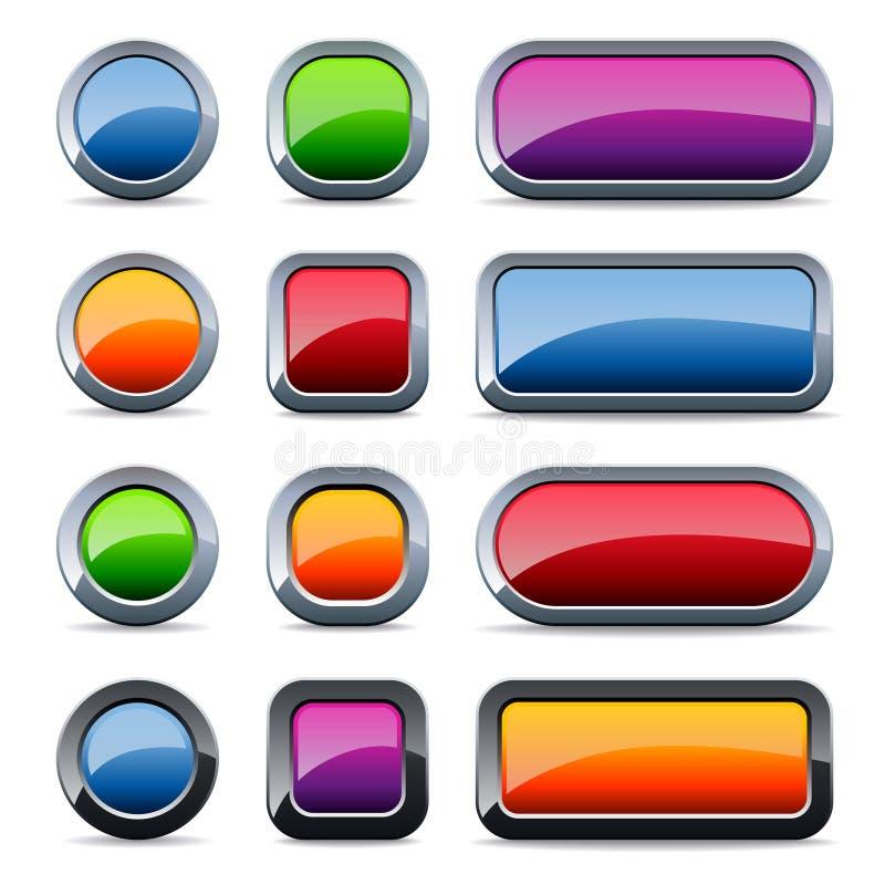 buttons glansig metall stock illustrationer