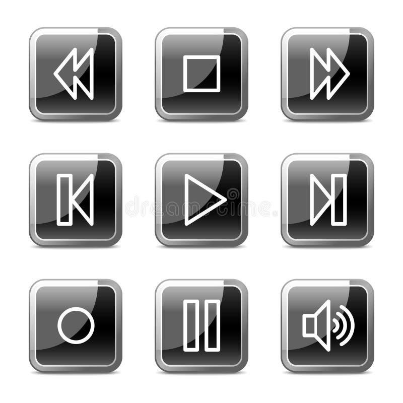 buttons glansig rengöringsduk för symbolsseriewalkman royaltyfri illustrationer