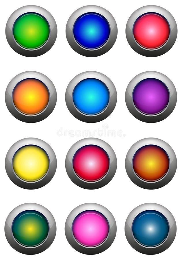 buttons glansig ström vektor illustrationer