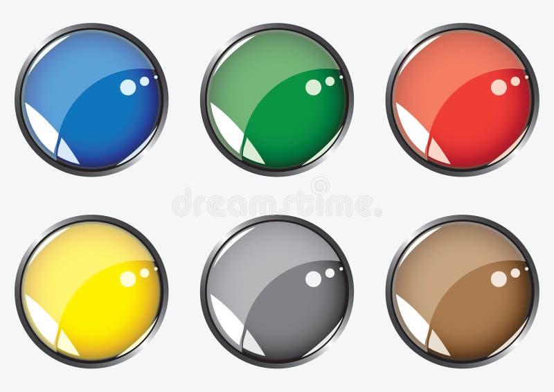 buttons glansiga sex royaltyfri illustrationer
