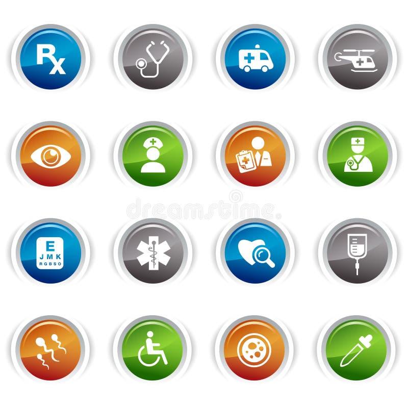 buttons glansiga symboler medicinska vektor illustrationer
