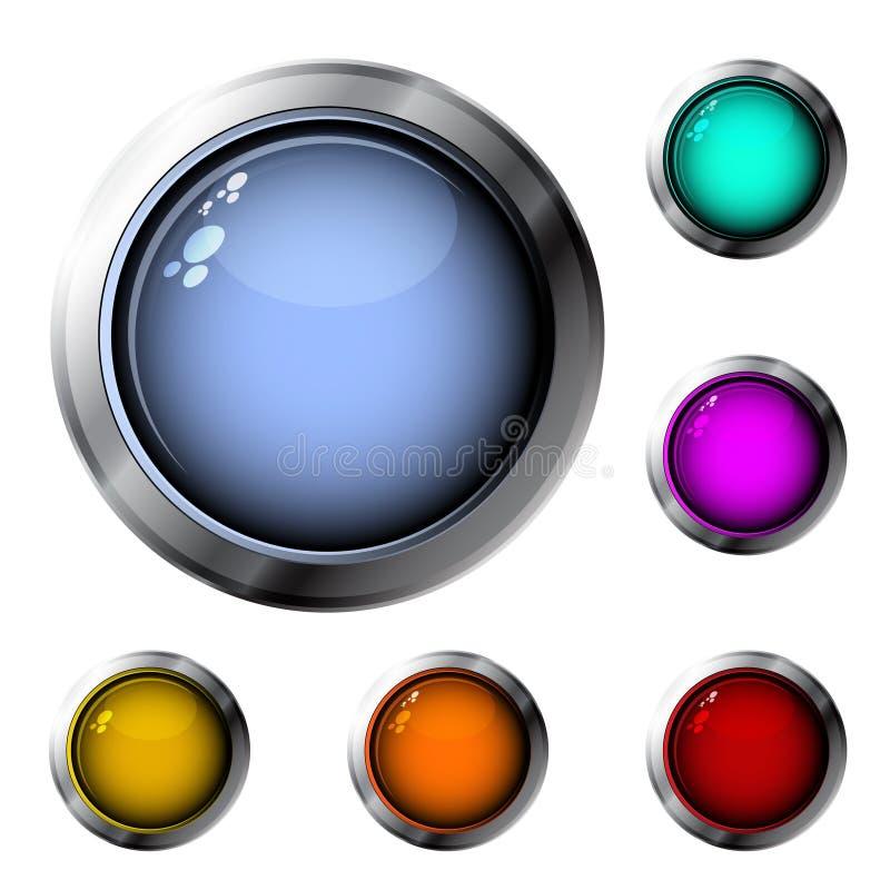 buttons glansigt stock illustrationer