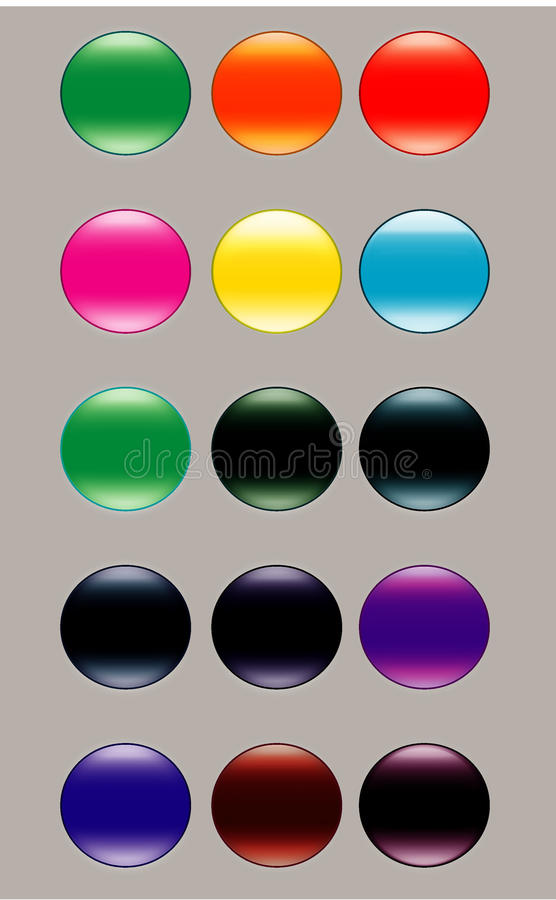 buttons glass metalliskt modernt vektor illustrationer