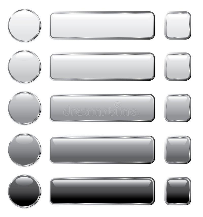 buttons grå lång rengöringsduk vektor illustrationer