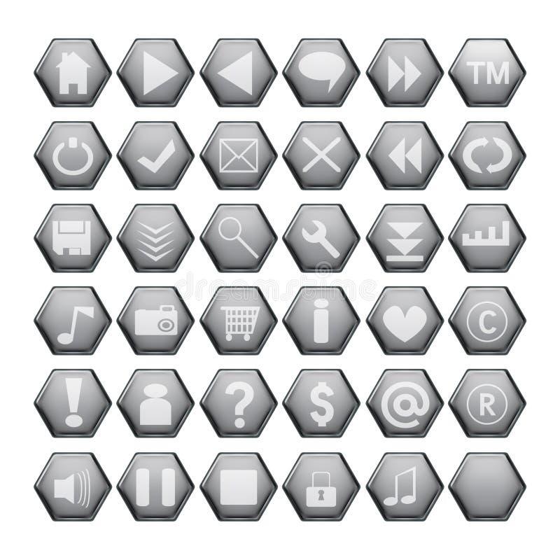 buttons grå rengöringsduk vektor illustrationer