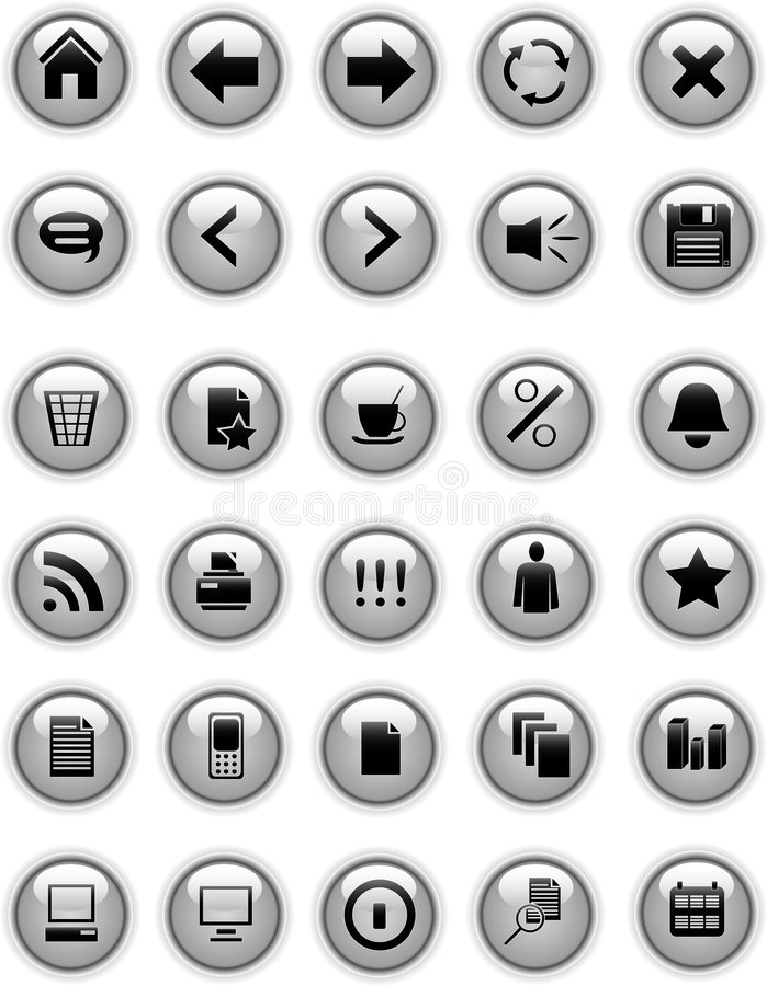 buttons grå symbolsrengöringsduk royaltyfri illustrationer