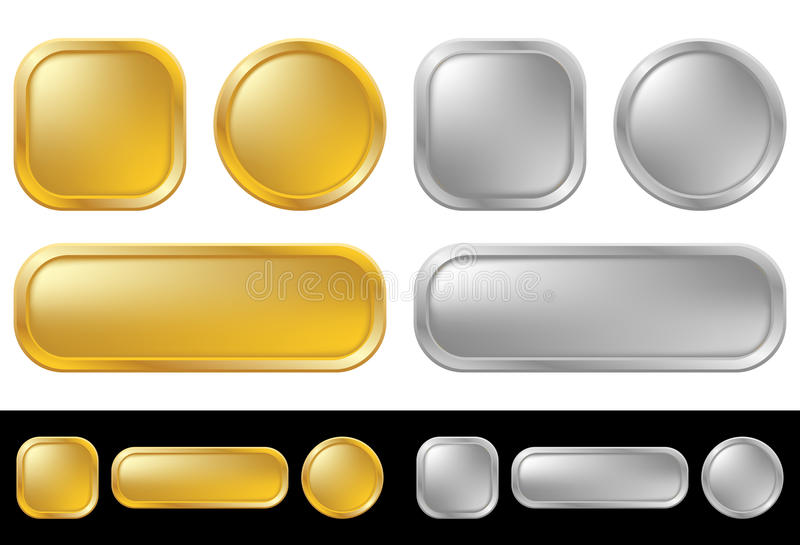 buttons guldsilver stock illustrationer