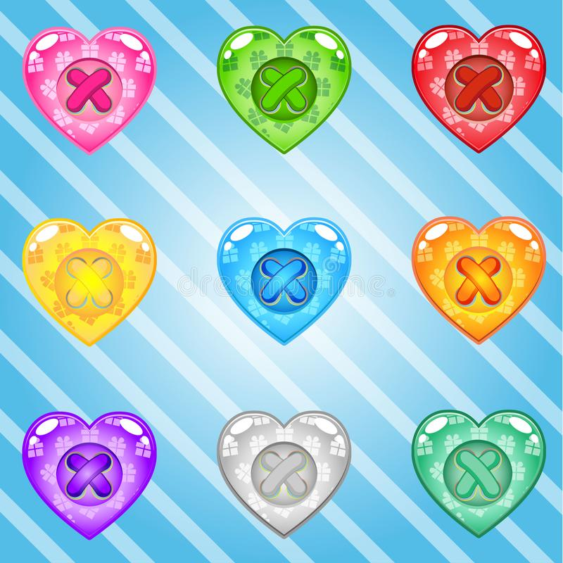 Buttons Hearts of bright colours set fo clothing. Collection cute glossy in different colors. Buttons Hearts of bright colours set fo clothing. Collection cute royalty free illustration