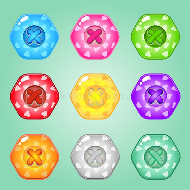 Buttons Hexagon of bright colours set of clothing. Collection cute glossy in different colors. Buttons Hexagon of bright colours set of clothing. Collection stock illustration
