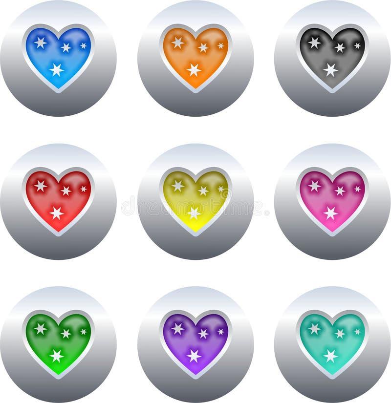 buttons hjärta stock illustrationer