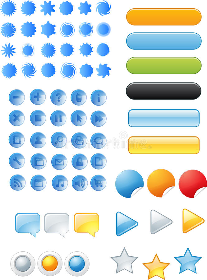 Download Buttons and icons stock illustration. Image of online - 33848992