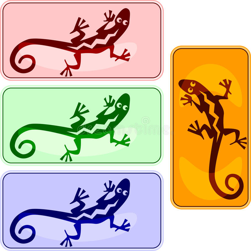 Buttons with iguanas. In american indians' style vector illustration