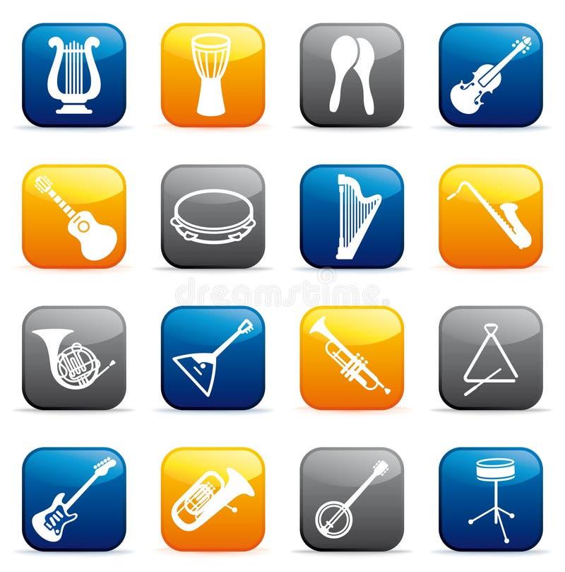buttons instrument musikaliska vektor illustrationer