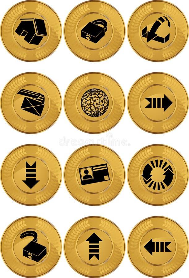 buttons internet för myntguld vektor illustrationer