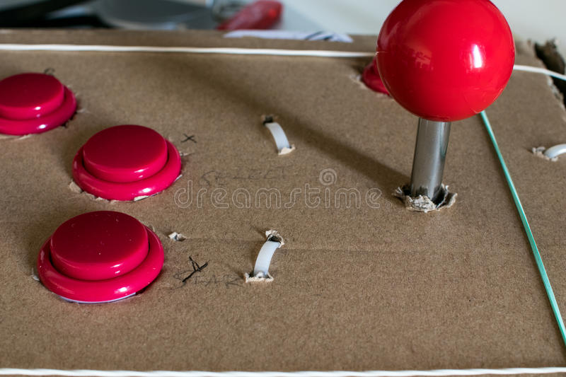 Buttons and Joystick for retro gaming DIY case royalty free stock photography