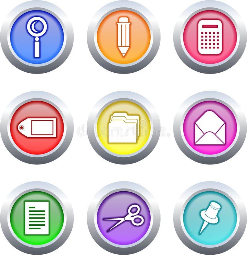 buttons kontoret vektor illustrationer