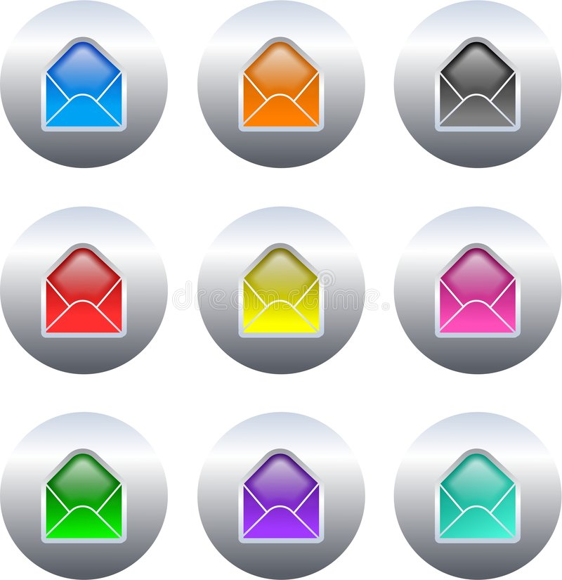 buttons kuvertet stock illustrationer