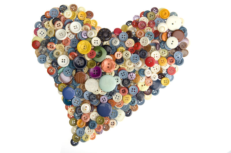 Buttons Love. Love shape form by multicolor buttons stock image