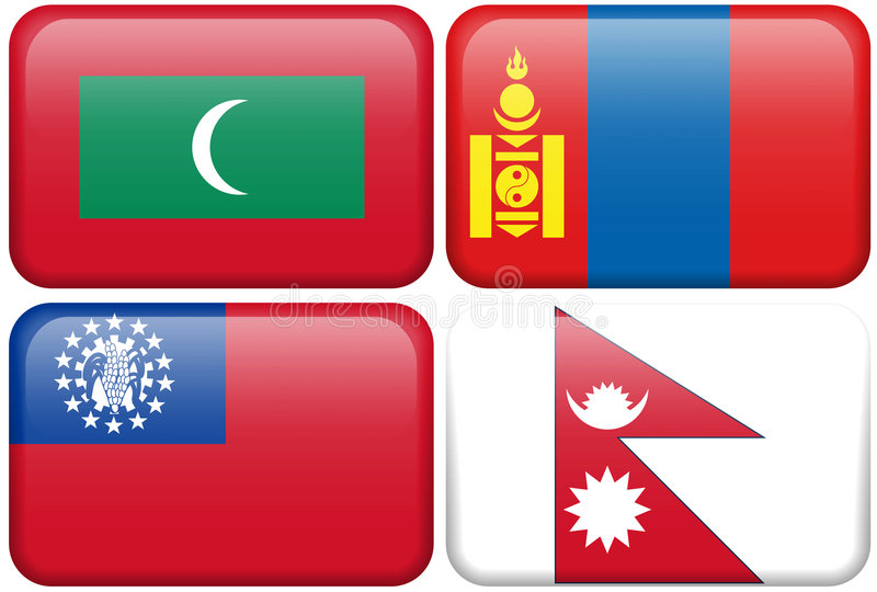 Download Buttons: Maldives, Mongolia, Myanmar, Nepal Royalty Free Stock Photos - Image: 4895018