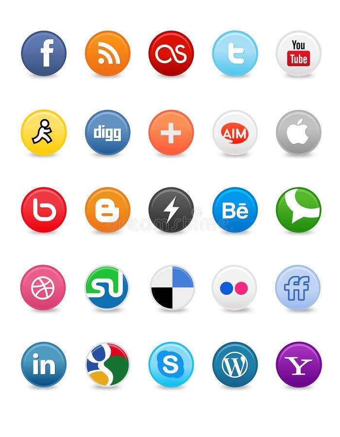 buttons medel sociala royaltyfri illustrationer