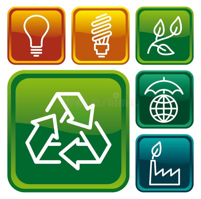 buttons miljöskydd royaltyfri illustrationer