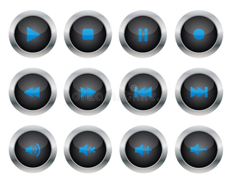 buttons multimedior royaltyfri illustrationer