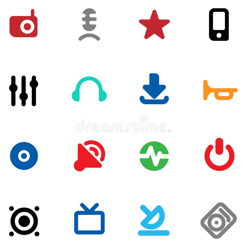 Download Buttons For Music And Sound Stock Vector - Image: 13549737