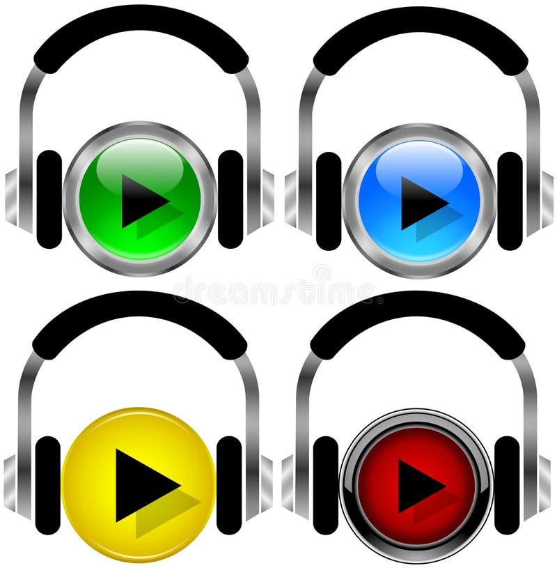 buttons musik stock illustrationer