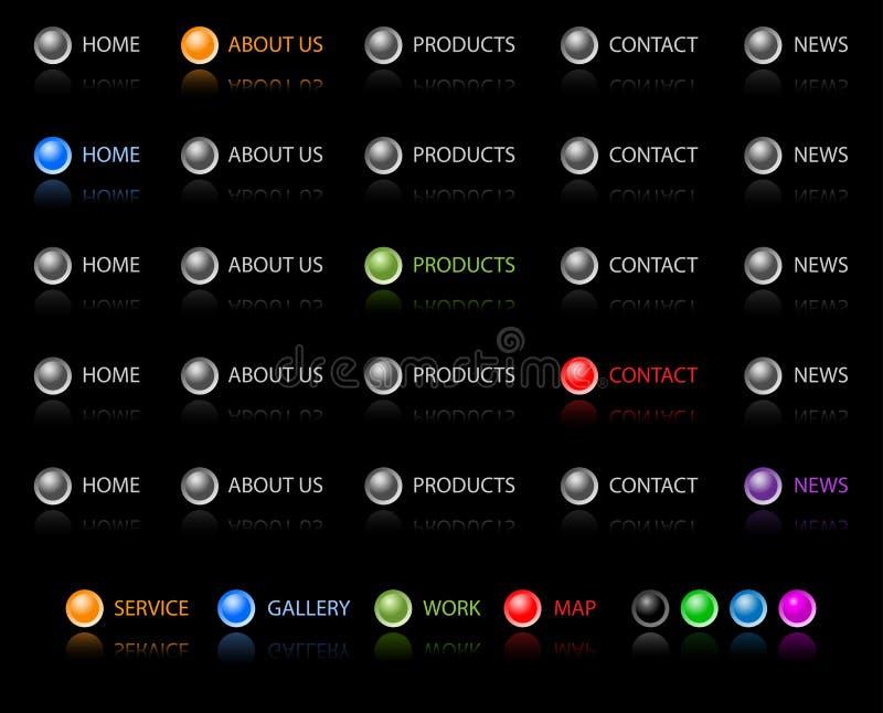 buttons navigeringwebsite royaltyfri illustrationer