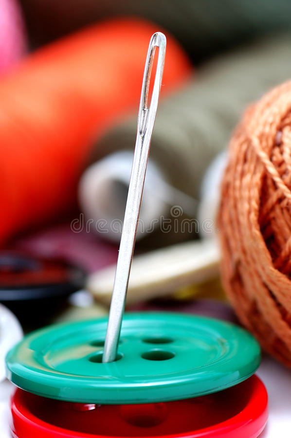 Download Buttons and needle stock image. Image of accessory, roll - 12104499