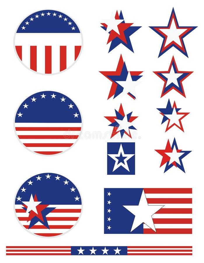 buttons patriotiska USA vektor illustrationer