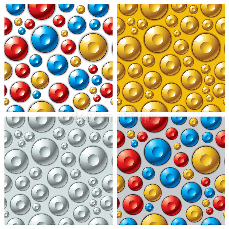 Buttons patterns. Colorful circles seamless patterns set. Vector backgrounds collection vector illustration