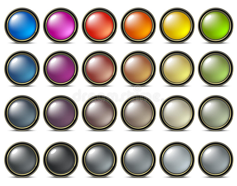 Buttons pearl colored vector illustration