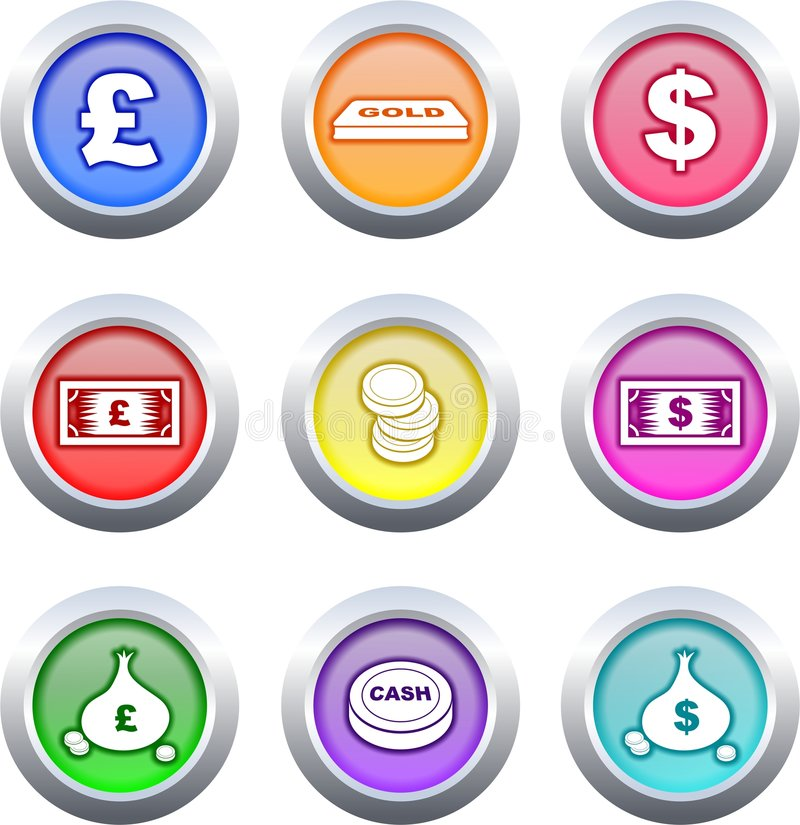 buttons pengar stock illustrationer