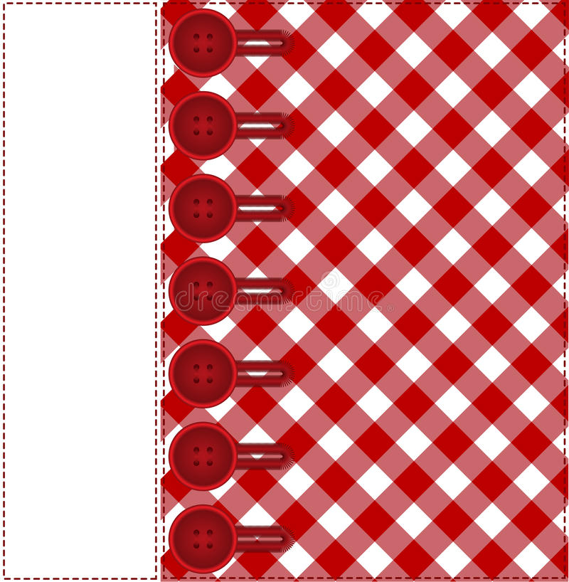 Buttons on a plaid background stock illustration