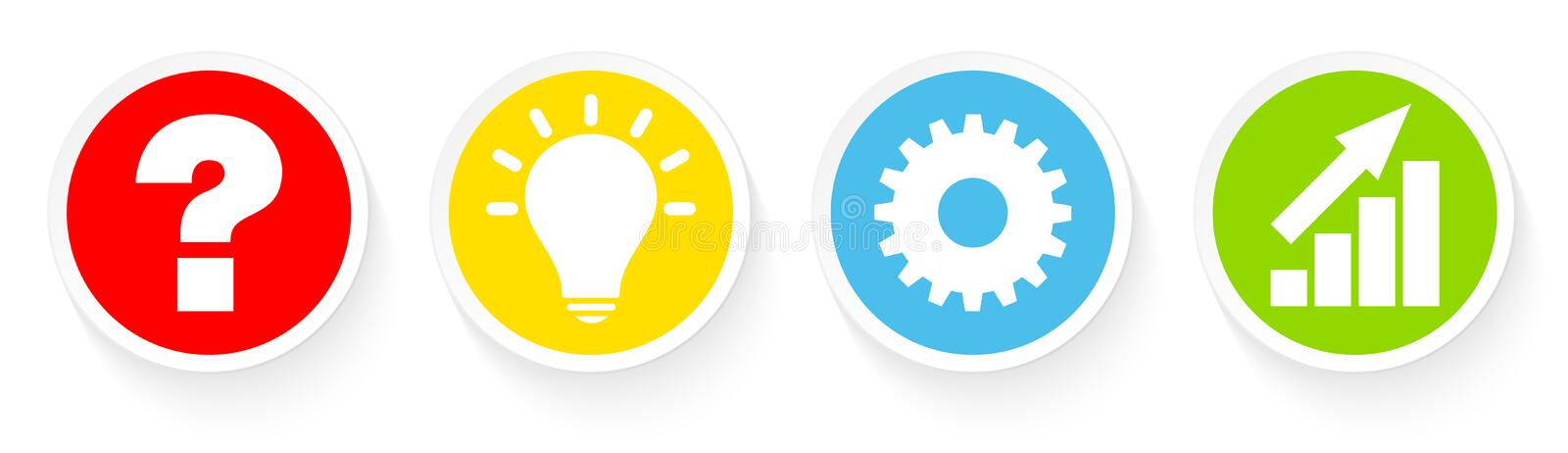 Buttons Question Idea Work And Success Color stock illustration