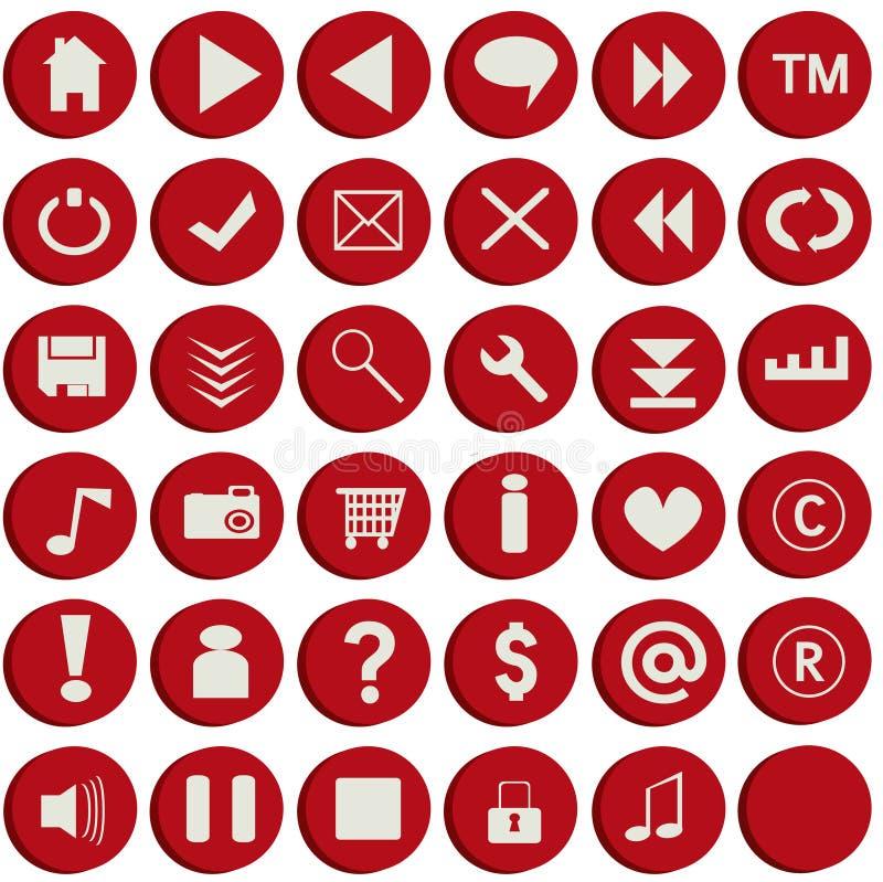 buttons röd rengöringsduk royaltyfri illustrationer