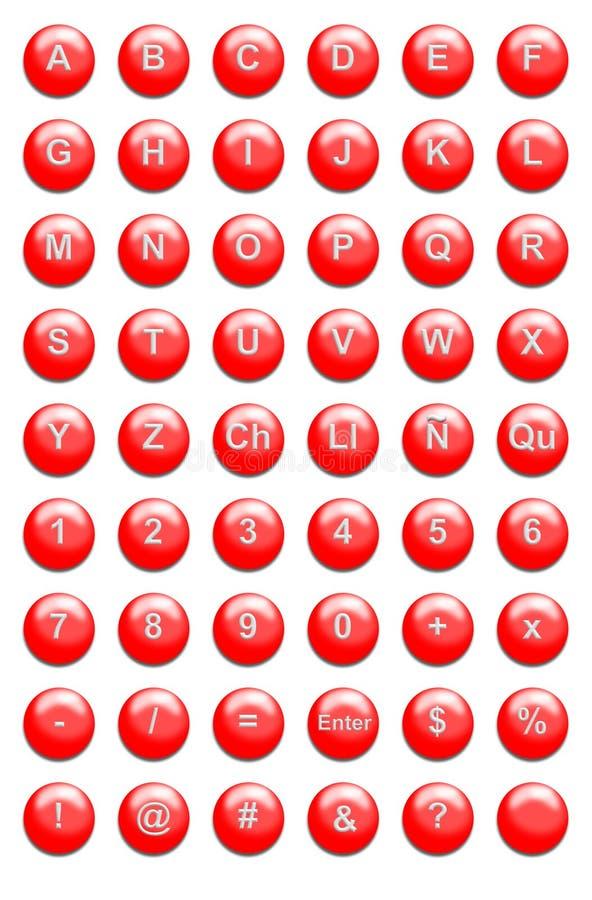 buttons röd website stock illustrationer