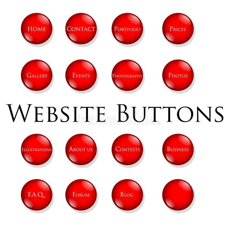 buttons röd website royaltyfri illustrationer