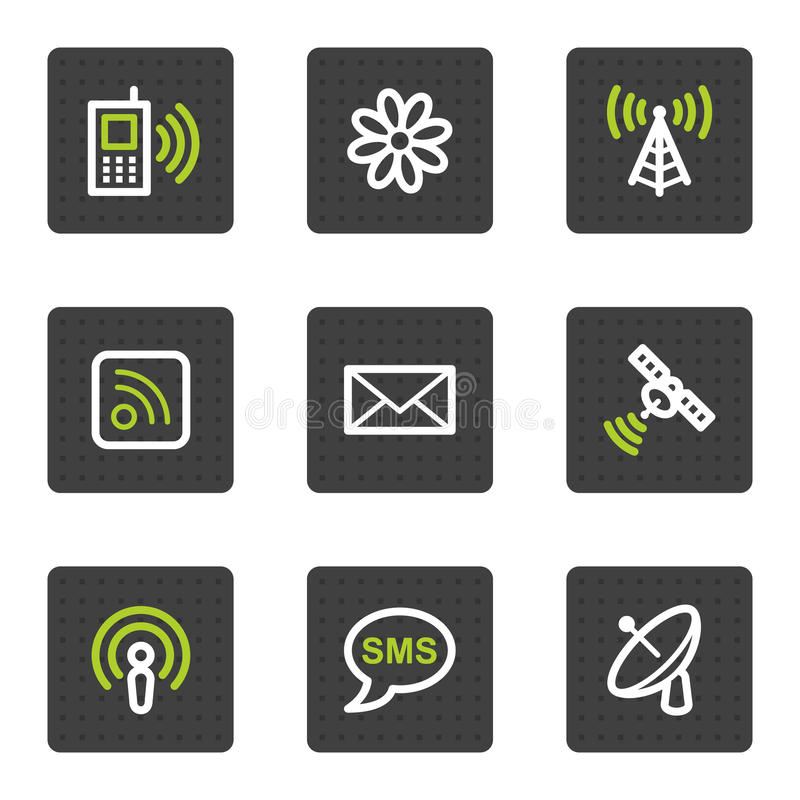 Buttons rengöringsduk för gråa symboler för kommunikation fyrkantig